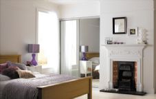 2 SILVER FRAME MIRROR SLIDING WARDROBE DOORS TO SUIT AN OPENING WIDTH OF 1193mm